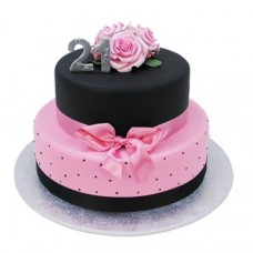 Black and Pink 21st Cake - Two Tiers